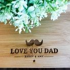 Father's Day Gifts - Personalized Engraved Mini Bamboo Serving Board (Moustache Design)