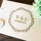 "Personalised ""Initials with Wreath Design"" Wedding Guest Book, Wooden Engraved Custom Engagement Guest Book on Rings"