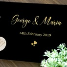 Personalised Wedding Guest Book, Engraved Black Gold Custom Engagement Guest Book on Rings