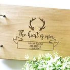 "Personalised ""Antler Hunt is Over"" Wedding Guest Book, Wooden Engraved Custom Engagement Guest Book on Rings"