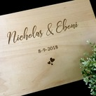 "Personalised ""Bride & Groom's name Design"" Wedding Guest Book, Wooden Engraved Custom Engagement Guest Book on Rings"