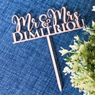 Personalised Mr & Mrs Wedding Rose Gold Cake Toppers - Custom Modern Cake Decoration (also available in Gold, Silver, Black, White or Maple Veneered Wood)