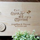 "Personalised ""Eat Drink be Married"" Design Wedding Guest Book, Wooden Engraved Custom Engagement Guest Book on Rings"
