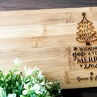 "Christmas Gifts - Personalised Engraved Mini Bamboo Serving Board ""Christmas Tree"" Design"