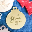Personalised Gold Mirror Acrylic Christmas BAUBLE Tree Decoration / Christmas Tree or Bedroom Door Ornament / Kris Kringle Christmas Gift