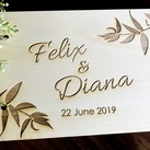 "Personalised ""Leaf Design"" Wedding Guest Book, Wooden Engraved Custom Engagement Guest Book on Rings"