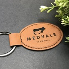 Personalised Engraved Leather Oval Corporate Gift - Key Chain /Ring