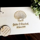 "Personalised ""Shell/beach"" design Wedding Guest Book, Wooden Engraved Custom Engagement Guest Book on Rings"