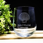 "Personalised ""Beach/ Shell"" design Wedding Favours Engraved Medium Crystal Stemless Wine Glass 11 Oz (315 ml)"