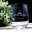 "Personalised ""Lovebirds"" design Wedding Favours Engraved Medium Crystal Stemless Wine Glass 11 Oz (315 ml)"