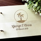 "Personalised ""Palm tree/beach"" design Wedding Guest Book, Wooden Engraved Custom Engagement Guest Book on Rings"