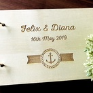 "Personalised ""Anchor"" design Wedding Guest Book, Wooden Engraved Custom Engagement Guest Book on Rings"
