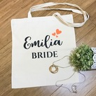 Personalised Bride Tote Bag, Personalized Bridesmaid Tote Bag, Wedding Calico Bag, Cotton Bag , Custom Maid of Honour Tote Bag