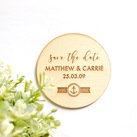 Personalised Engraved Wooden Wedding Save the Date Round Style with Magnet