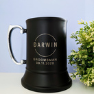 Personalised Engraved Black Gloss Stainless Steel Beer Mug - Groomsman or Best Man Gift